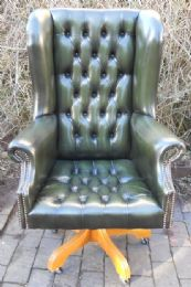 Leather Swivel Desk Chair in Antique Georgian Style